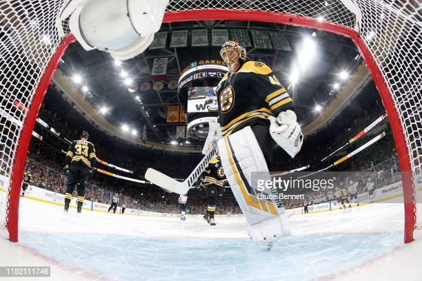 Tuukka Rask of the Boston Bruins reacts after allowing a second period goal against the St Louis Blues in Game One of the 2019 NHL Stanley Cup Final...