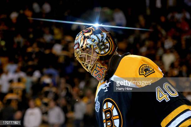 Tuukka Rask of the Boston Bruins skates off the ice after defeating the Chicago Blackhawks 20 in Game Three of the 2013 NHL Stanley Cup Final at TD...