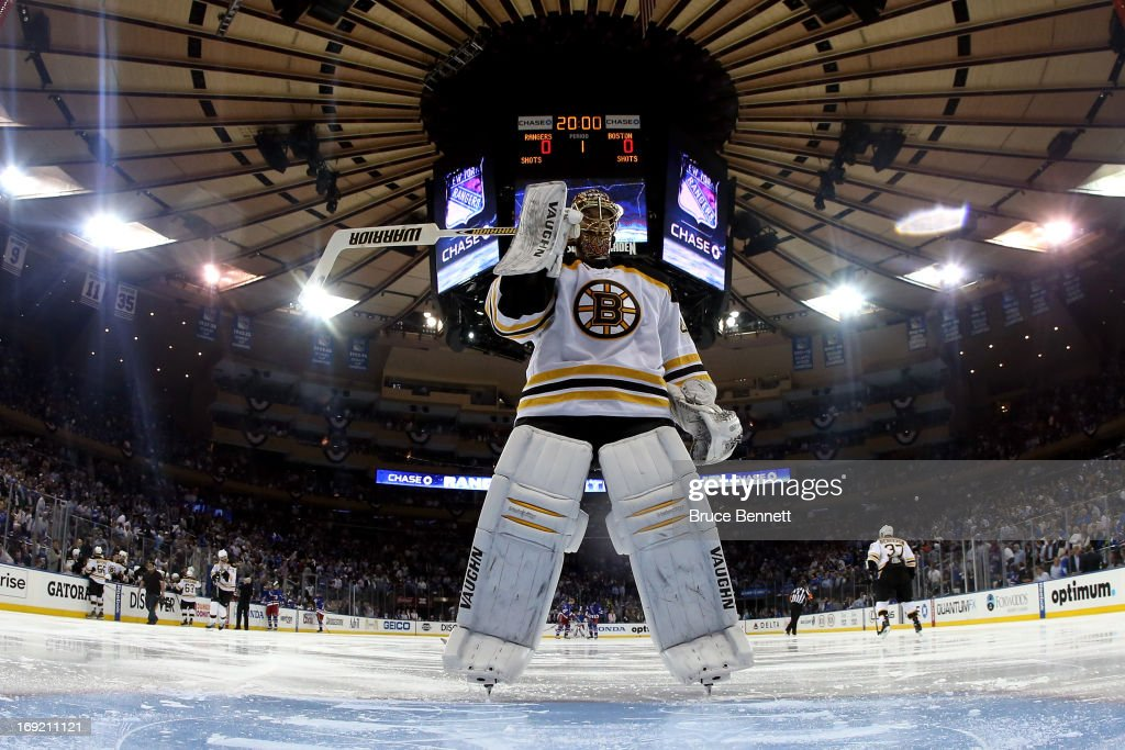 Tuukka Rask #40 of the Boston Bruins skates to the net during a break against the New York Rangers in Game Three of the Eastern Conference Semifinals during the 2013 NHL Stanley Cup Playoffs at Madison Square Garden on May 21, 2013 in New York City.