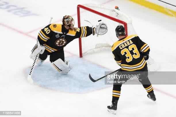 Tuukka Rask of the Boston Bruins stops a shot against the St Louis Blues during the second period in Game Seven of the 2019 NHL Stanley Cup Final at...