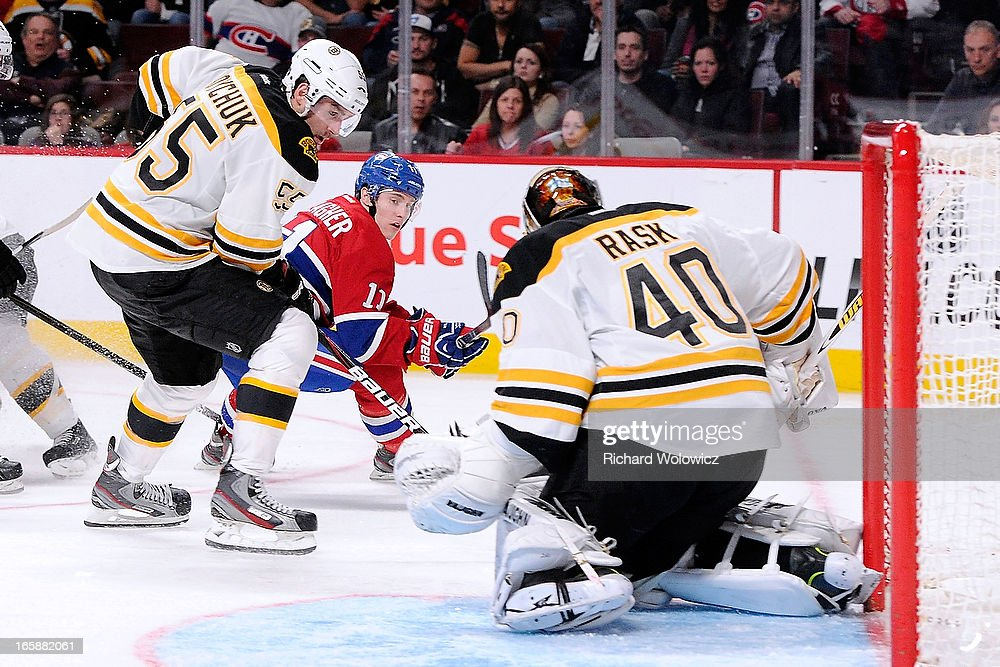 Tuukka Rask #40 of the Boston Bruins stops the puck on an attempt by Brendan Gallagher #11 of the Montreal Canadiens during the NHL game at the Bell Centre on April 6, 2013 in Montreal, Quebec, Canada. The Canadiens defeated the Bruins 2-1.