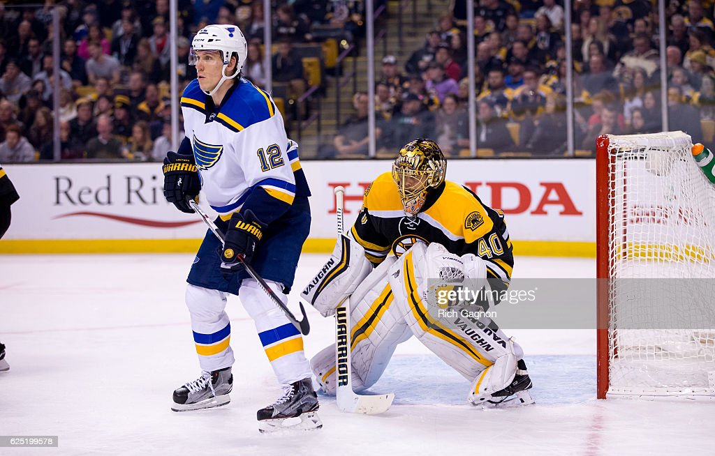 Tuukka Rask #40 of the Boston Bruins tends goal against the St. Louis Blues during the second period as Jori Lehtera #12 of the St. Louis Blues tries to block his view at TD Garden on November 22, 2016 in Boston, Massachusetts. The Blues won 4-2.