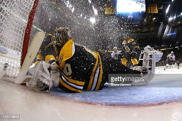 Tuukka Rask of the Boston Bruins tends goal in the second period against the Chicago Blackhawks in Game Three of the 2013 NHL Stanley Cup Final at TD...