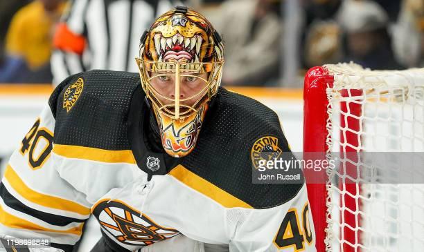 Tuukka Rask of the Boston Bruins tends net against the Nashville Predators at Bridgestone Arena on January 7, 2020 in Nashville, Tennessee.