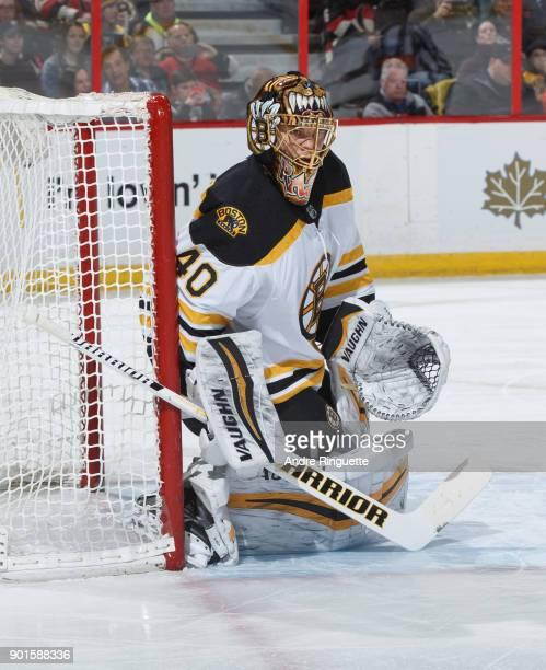 Tuukka Rask of the Boston Bruins tends net against the Ottawa Senators at Canadian Tire Centre on December 30 2017 in Ottawa Ontario Canada