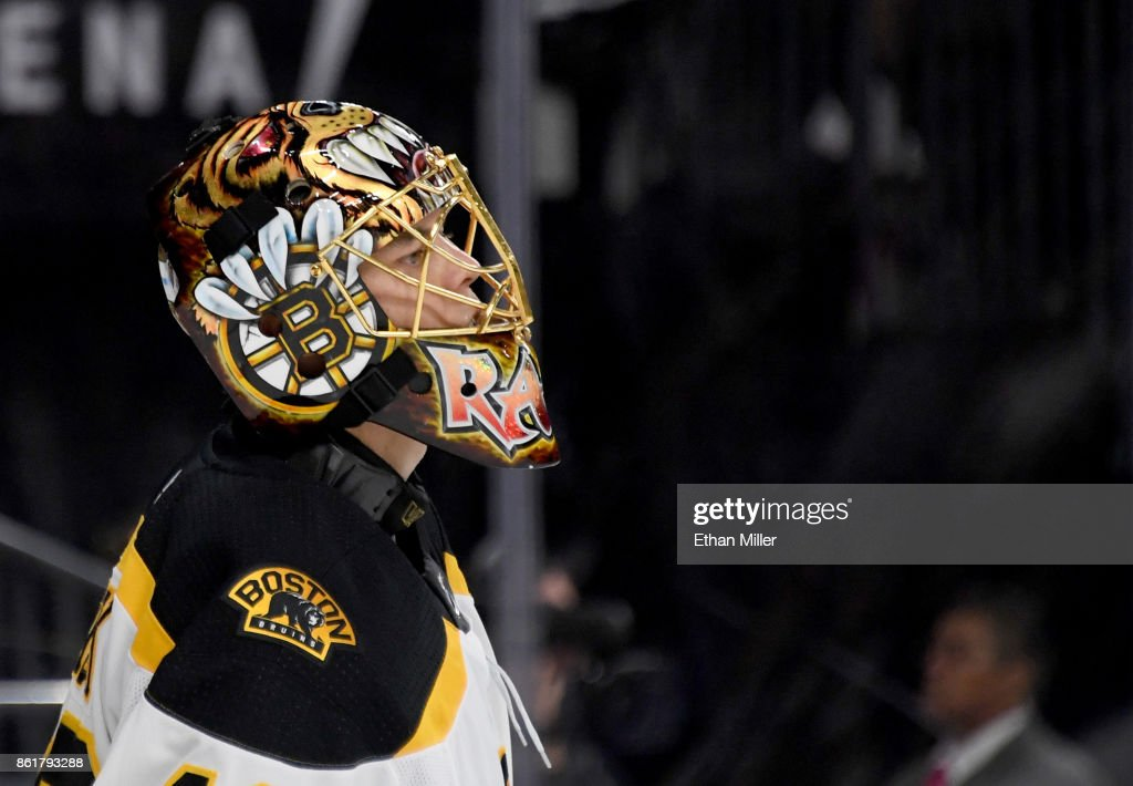 Tuukka Rask #40 of the Boston Bruins tends net against the Vegas Golden Knights in the second period of their game at T-Mobile Arena on October 15, 2017 in Las Vegas, Nevada. The Golden Knights won 3-1.