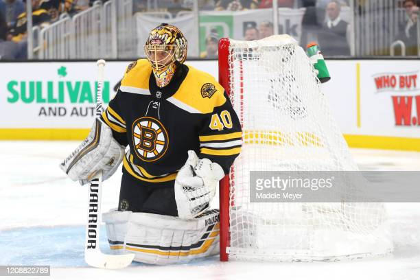 Tuukka Rask of the Boston Bruins tends net during the second period of the game against the Calgary Flames at TD Garden on February 25, 2020 in...