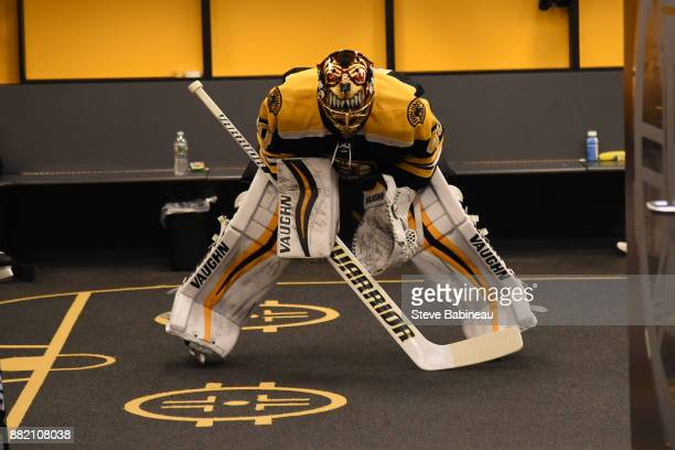 Tuukka Rask of the Boston Bruins waits in the locker room for warm ups before the game against the Tampa Bay Lightning at the TD Garden on November...