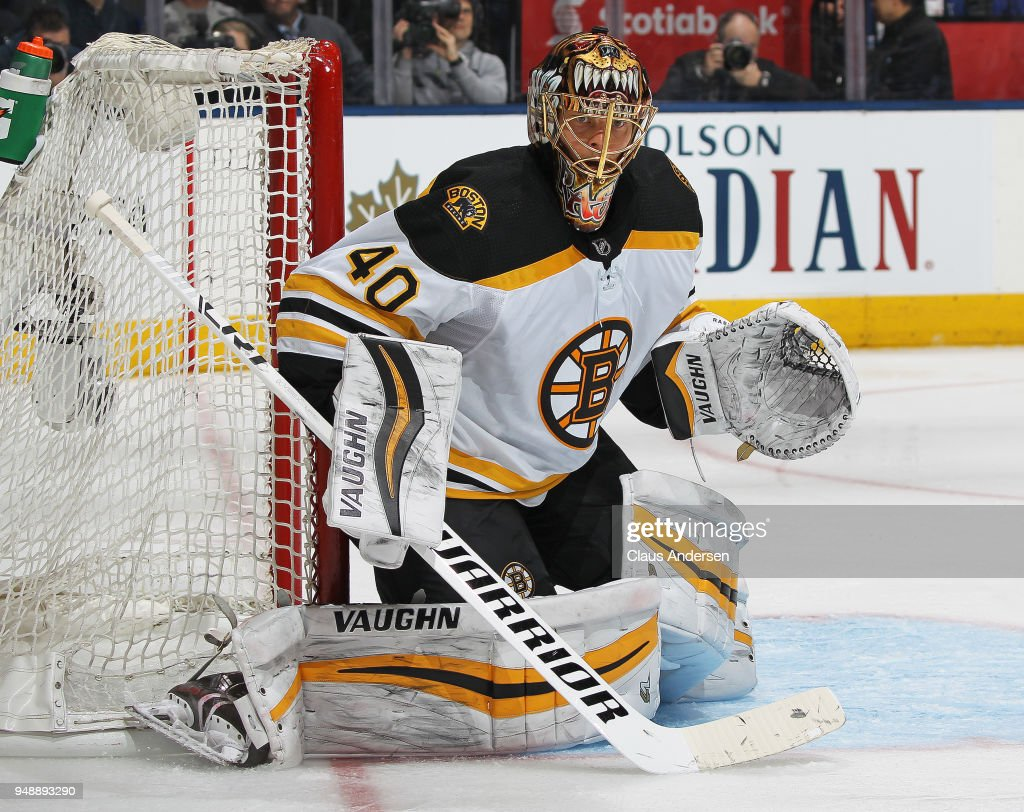Tuukka Rask #40 of the Boston Bruins watches for a puck against the Toronto Maple Leafs in Game Four of the Eastern Conference First Round in the 2018 Stanley Cup play-offs at the Air Canada Centre on April 19, 2018 in Toronto, Ontario, Canada. The Bruins defeated the Maple Leafs 3-1.
