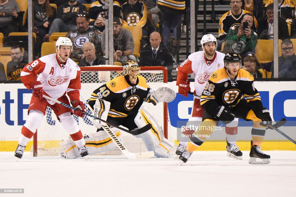 Tuukka Rask #40 of the Boston Bruins watches the play against the Detroit Red Wings at the TD Garden on March 8, 2017 in Boston, Massachusetts.