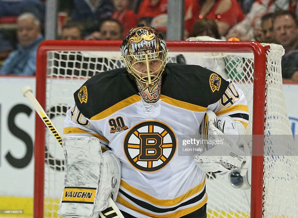 Tuukka Rask #40 of the Boston Bruins watches the puck sail over his shoulder during the second period of Game Three of the First Round of the 2014 NHL Stanley Cup Playoffs at Joe Louis Arena on April 22, 2014 in Detroit, Michigan.