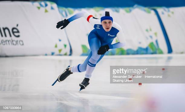 Tuukka Suomalainen of Finland competes in the Mens 500m sprint race during the ISU Junior World Cup Speed Skating Final Day 2 on February 9 2019 in...