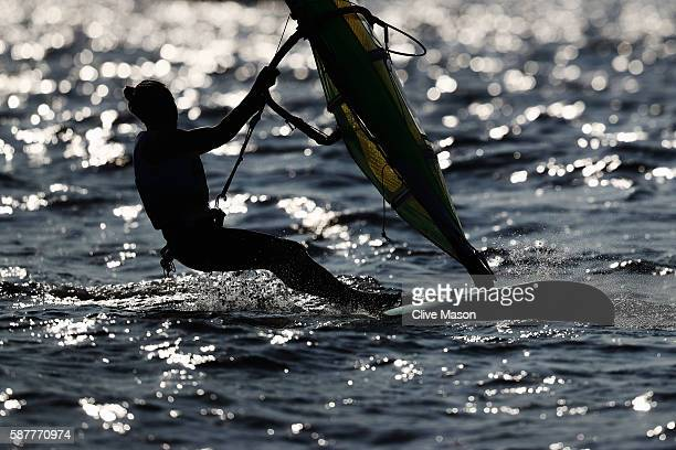 Tuuli PetajaSiren of Finland competes in the Women's RSX race on Day 4 of the Rio 2016 Olympic Games at the Marina da Gloria on August 9 2016 in Rio...