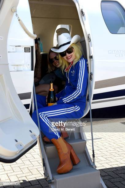 Tuuli Shipster and Pam Hogg arrive at Jersey Airport ahead of the Jersey Style Awards 2018 on June 28 2018 in Trinity Jersey