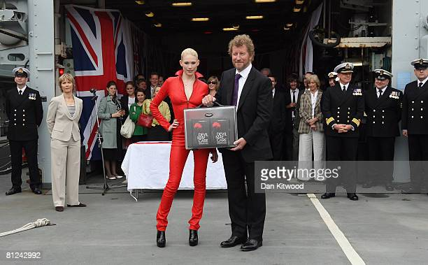 Tuuli Shipster the model on the cover and author Sebastian Faulks attend a book signing of Faulks's new novel 'Devil May Care' the latest in the...
