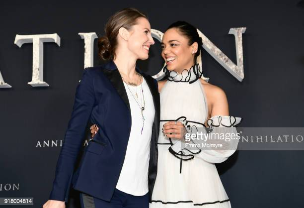 Tuva Novotny and Tessa Thompson attend the premiere of Paramount Pictures' 'Annihilation' at Regency Village Theatre on February 13 2018 in Westwood...