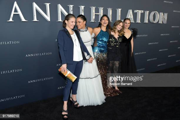 Tuva Novotny Tessa Thompson Gina Rodriguez Jennifer Jason Leigh and Natalie Portman attend the premiere of Paramount Pictures' 'Annihilation' at...