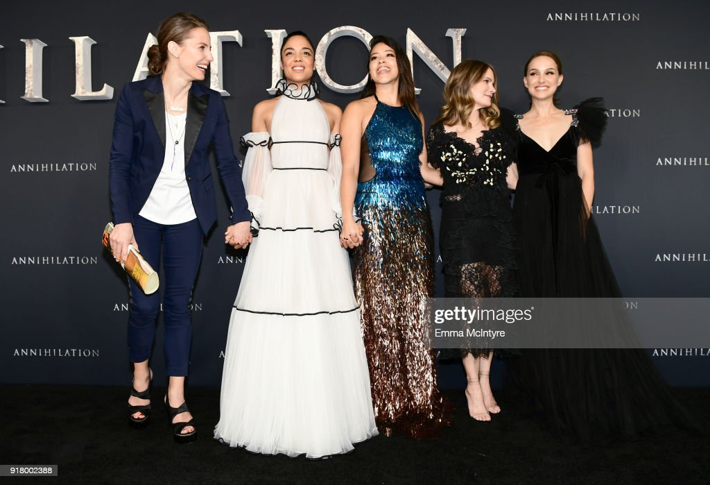 Tuva Novotny, Tessa Thompson, Gina Rodriguez, Jennifer Jason Leigh, and Natalie Portman attend the premiere of Paramount Pictures' 'Annihilation' at Regency Village Theatre on February 13, 2018 in Westwood, California.
