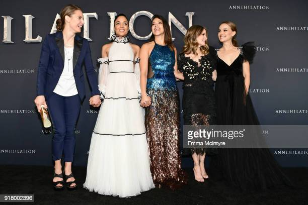 Tuva Novotny Tessa Thompson Gina Rodriguez Jennifer Jason Leigh and Natalie Portman attend the premiere of Paramount Pictures' 'Annihilation' at...
