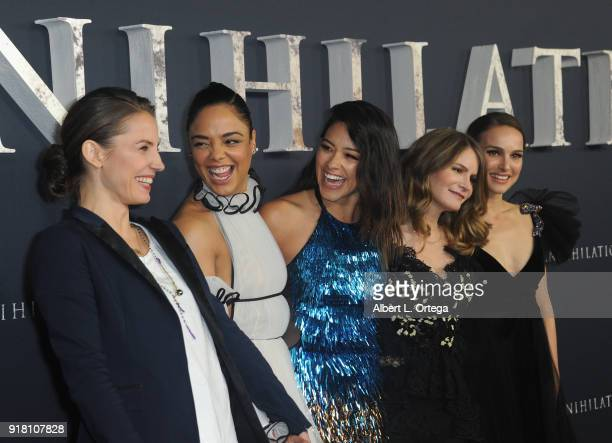 Tuva Novotny Tessa Thompson Gina Rodriguez Jennifer Jason Leigh and Natalie Portman arrive for the Premiere Of Paramount Pictures' 'Annihilation'...