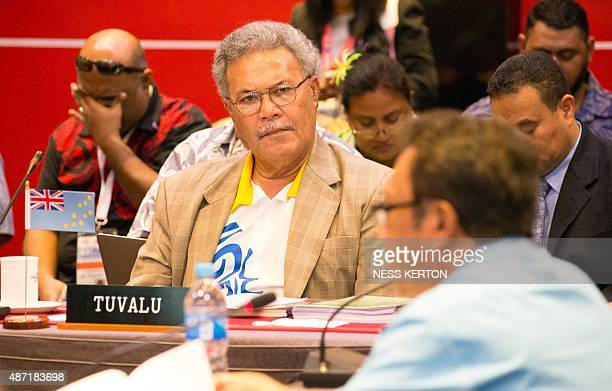 Tuvalu's Prime Minister Enele Sopoaga listens to a speaker during the Smaller Islands States Leaders meeting as part of the Pacific Islands Forum in...