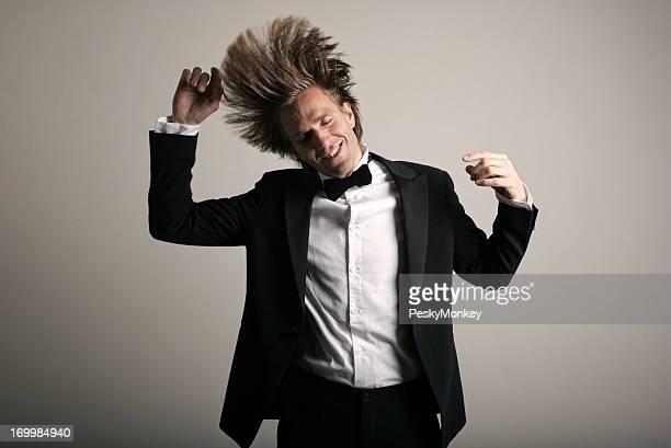 Tuxedo Man Celebrating Dancing at Party