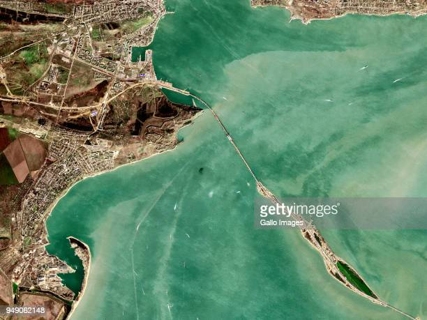 Tuzla Island with the Kerch Strait Bridge also known as the Crimean Bridge connecting to the City of Kerch in Crimea on March 05 2018