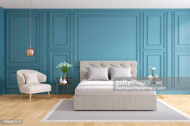 tv cabinet interior modern room design with dark blue wall ,cozy living style ,3d illustration - double bed stock pictures, royalty-free photos & images