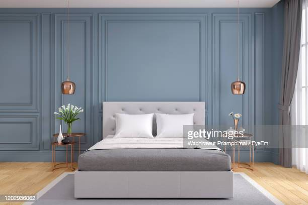 tv cabinet interior modern room design with dark blue wall ,cozy living style ,3d illustration - bed stock pictures, royalty-free photos & images