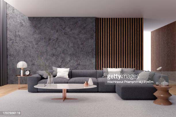 tv cabinet interior modern room design with dark blue wall ,cozy living style ,3d illustration - domestic room stock pictures, royalty-free photos & images