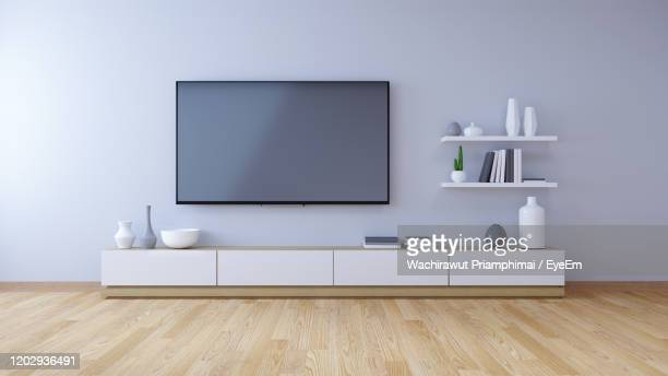 tv cabinet , modern interior of living room design and cozy living style - television set stock pictures, royalty-free photos & images