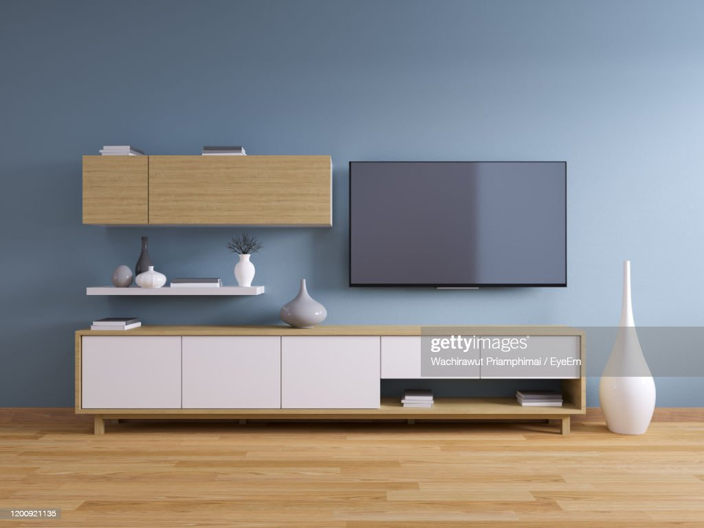 Tv Cabinet Modern Interior Of Living Room Design On Blue Wall And ...