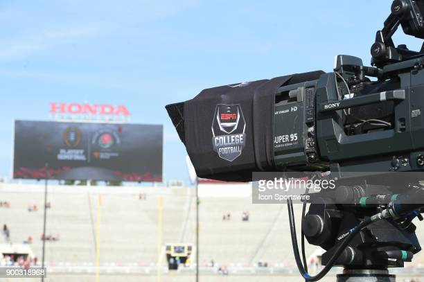 ESPN tv camera before the College Football Playoff Semifinal at the Rose Bowl Game between the Georgia Bulldogs and Oklahoma Sooners on January 1 at...