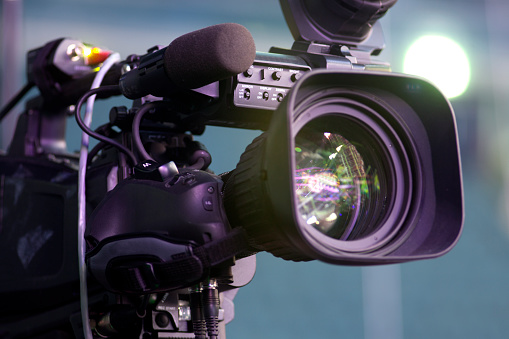 tv camera in a concert hall 612645332