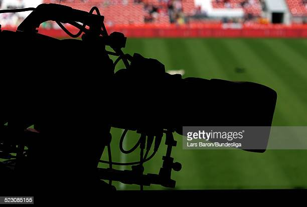 Tv camera is seen prior to the Bundesliga Play Off match between FC Energie Cottbus and 1.FC Nuernberg at the Stadion der Freundschaft on May 28,...
