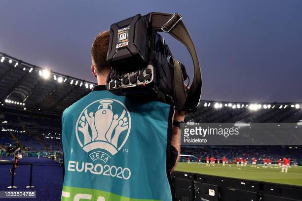 Tv cameraman filming during the Uefa Euro 2020 Group A football match between Italy and Switzerland. Italy won 3-0 over Switzerland.