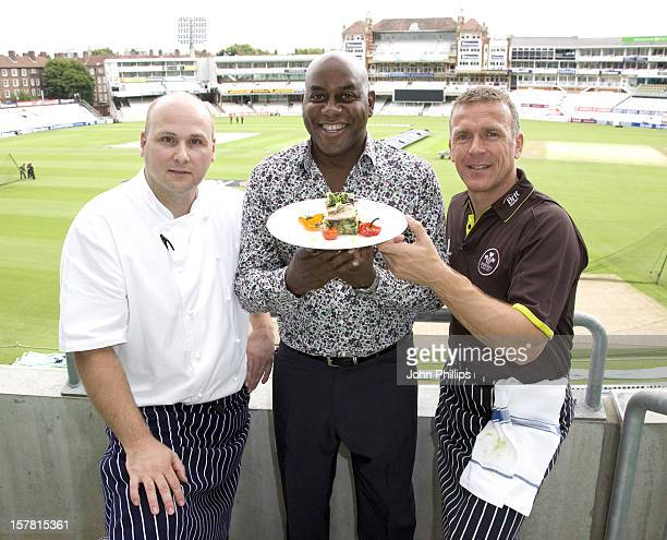 Tv Chef Ainsley Harriott With The Former England Cricket Captain Alec Stewart And Chris Garrett The Oval Head Chef Taking Part In A CookOff To...