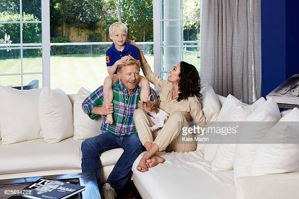 Tv commentator on tennis and former champion player Boris Becker with his wife Lilly and son Amadeus are photographed at home for Hello magazine on...