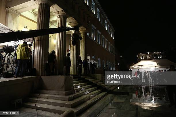 Tv crews outside the entrance of the Greek parliament during the first ballot for the Presidential election in Athens on Wednesday December 17 2014