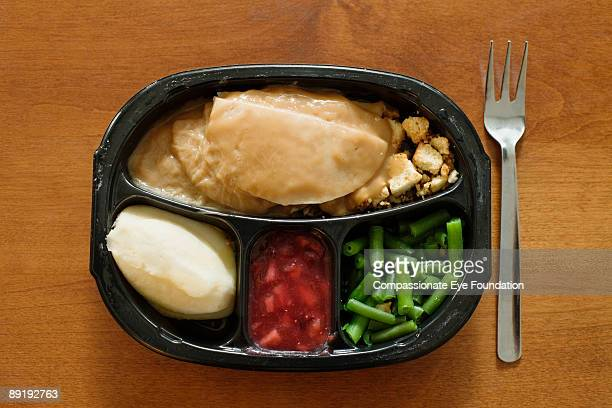 tv dinner and fork on table - cef do not delete stock pictures, royalty-free photos & images