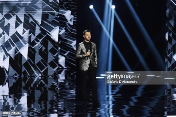 Tv host Alessandro Cattelan attends X Factor tv show at Teatro Linear Ciak on November 8 2018 in Milan Italy