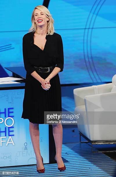 Tv host Alessia Marcuzzi attends 'Che Tempo Che Fa' tv show on October 30, 2016 in Milan, Italy.