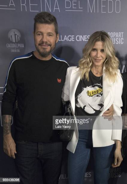 Tv host and producer Marcelo Tinelli and Guillermina Valdes attend 'La Reina del Miedo' premiere at Village Recoleta Cinemas on March 20 2018 in...