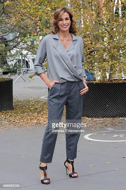 Tv host Cristina Parodi attends La vita in diretta Photocall on October 3 2014 in Milan Italy