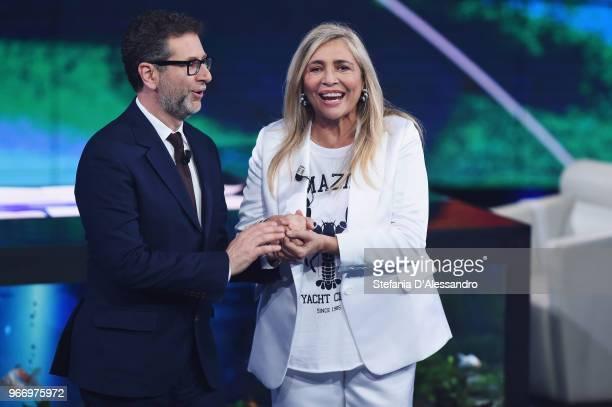 Tv host Fabio Fazio and Mara Venier attend Che Tempo Che Fa Tv Show on June 3 2018 in Milan Italy