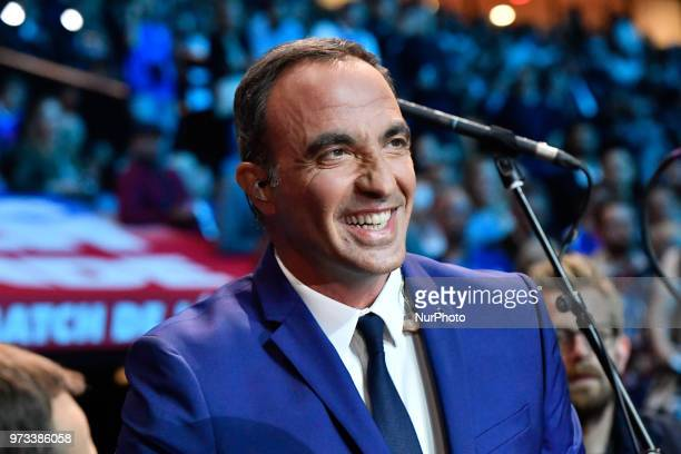 Tv Host Nikos Aliagas at the France 98 VS Fifa 98 Exhibition at the UArena in Nanterre on the 12 June 2018
