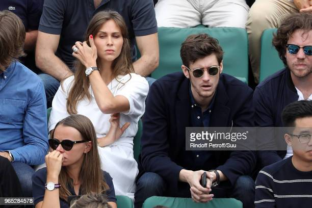 Tv host Ophelie Meunier and actor JeanBaptiste Maunier attend the 2018 French Open Day Six at Roland Garros on June 1 2018 in Paris France