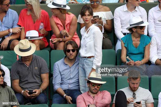 Tv host Ophelie Meunier and her husband Mathieu Vergne attend the 2018 French Open Day Eight at Roland Garros on June 3 2018 in Paris France