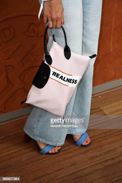 Tv host Ophelie Meunier handbag detail attends the 2018 French Open Day Eight at Roland Garros on June 3 2018 in Paris France