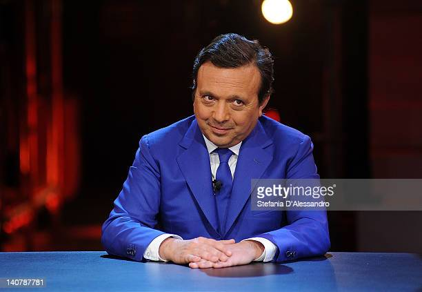 Tv host Piero Chiambretti attends 'Chiambretti Wednesday Show' Italian TV Show on March 6 2012 in Milan Italy